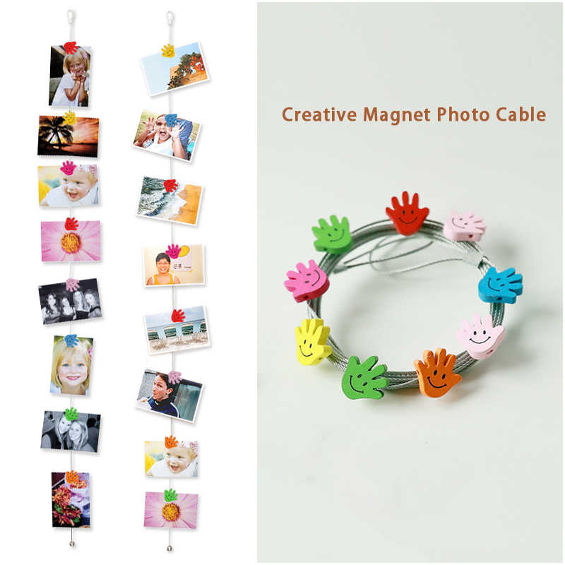 2pcs 1.5M High Quality Silver Magnetic Cable Photo Or Card Holder With 8 cartoon-wooden Palm Image Magnet