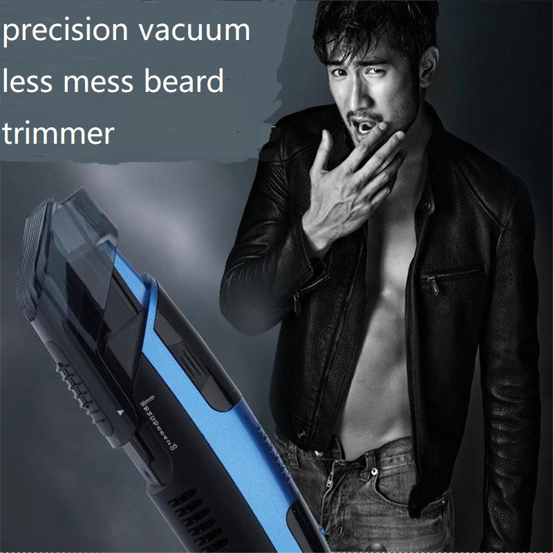 Man Electric Vacuum Beard Trimmer Less Mess Precision Men Face Groomer Hair Removal Mustache Styling Clipper Shaver Razor Cutter