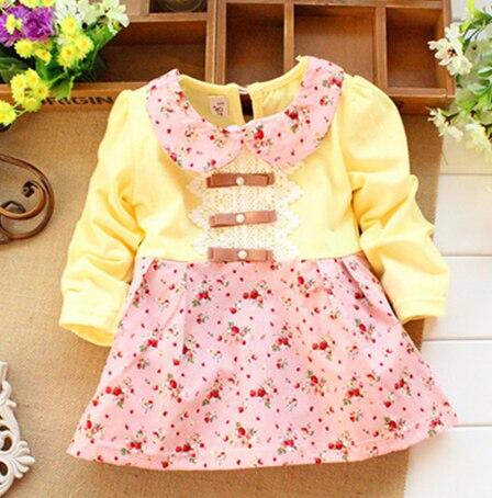 Spring Autumn 2018 hot sale children's long sleeve shirt  fashion flower baby Girls dress kids clothing cotton T shirt