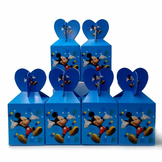 30pcs Creative Candy Paper Boxes Birthday Boy Favor Mickey Mouse Party Treat Bag Wedding Favors