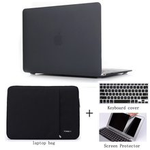 laptop case matte protective shell for macbook pro /retina / air 11 12 13 15 +keyboard cover+screen protector+laptop sleeve bag