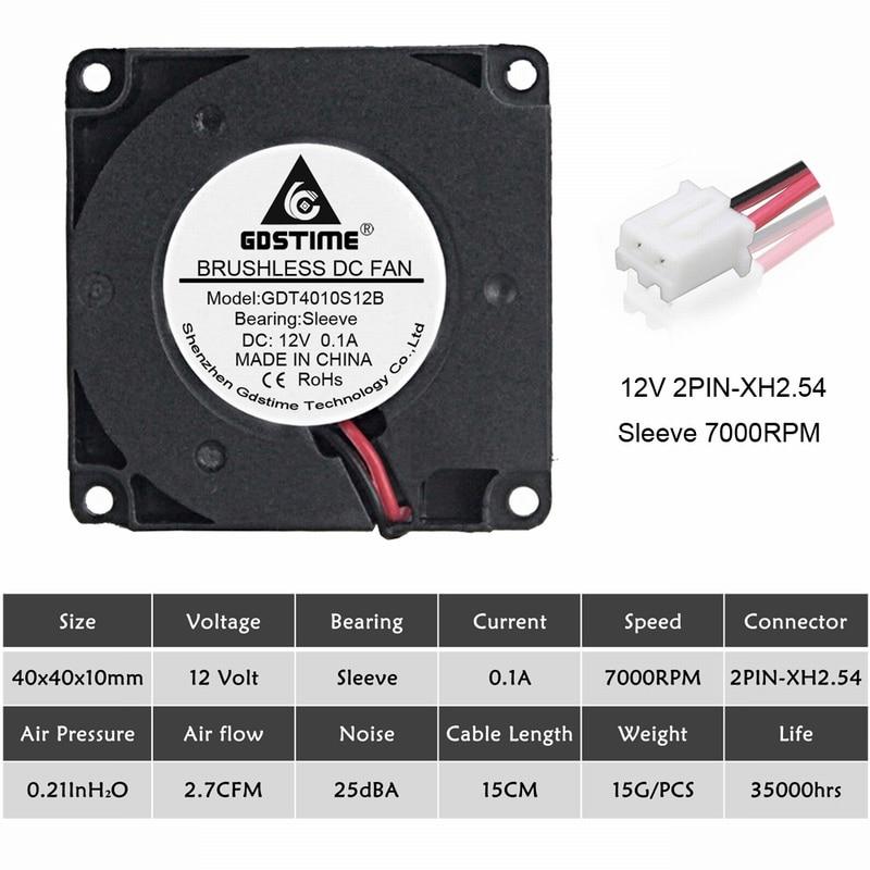2 шт. Gdstime 40 мм 3d принтер вентилятор 12 в 24 в 5 В 4010 вентилятор для принтера охлаждающие аксессуары DC турбо вентилятор Радиальные Вентиляторы 40x40x10 мм - Цвет лезвия: 12V Sleeve 7000RPM
