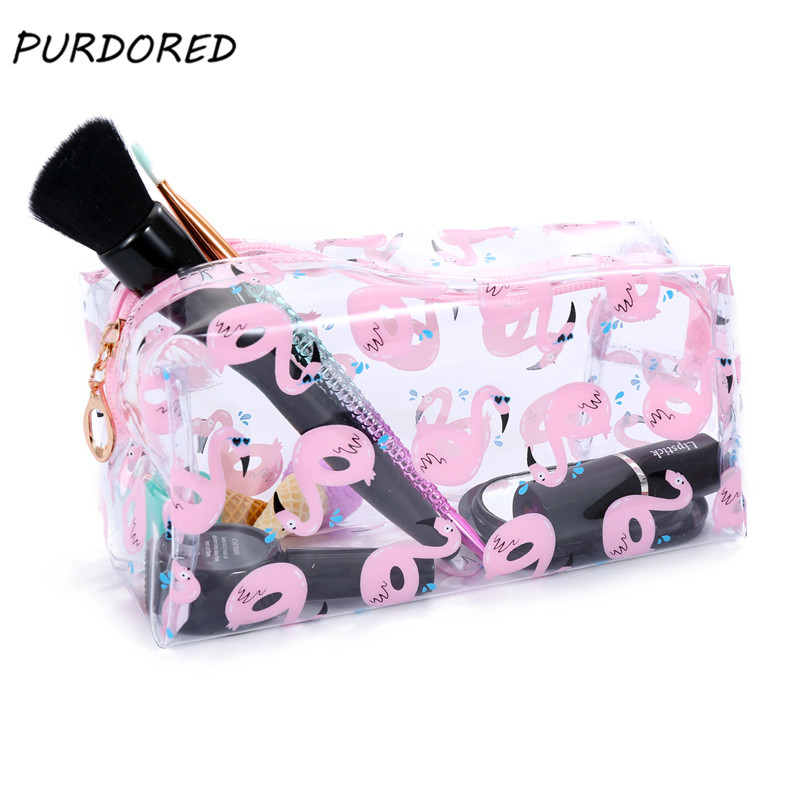 PURDORED 1 pc Flamingo Travel Cosmetic Bag PVC Transparent Makeup Bag Clear Functional Bags Cosmetic Organizer DropshippingPURDORED 1 pc Flamingo Travel Cosmetic Bag PVC Transparent Makeup Bag Clear Functional Bags Cosmetic Organizer Dropshipping