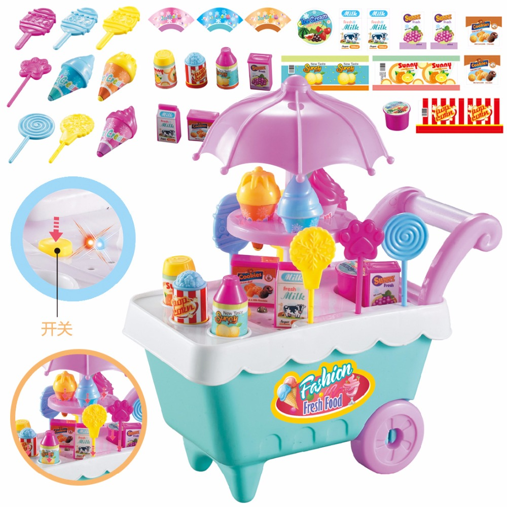DIY Simulation Mini Kitchen Musical Toys Candy Ice Cream Trolley Car Set Play House Light Toy For Children Girls Miniature Food ice cream cart toy
