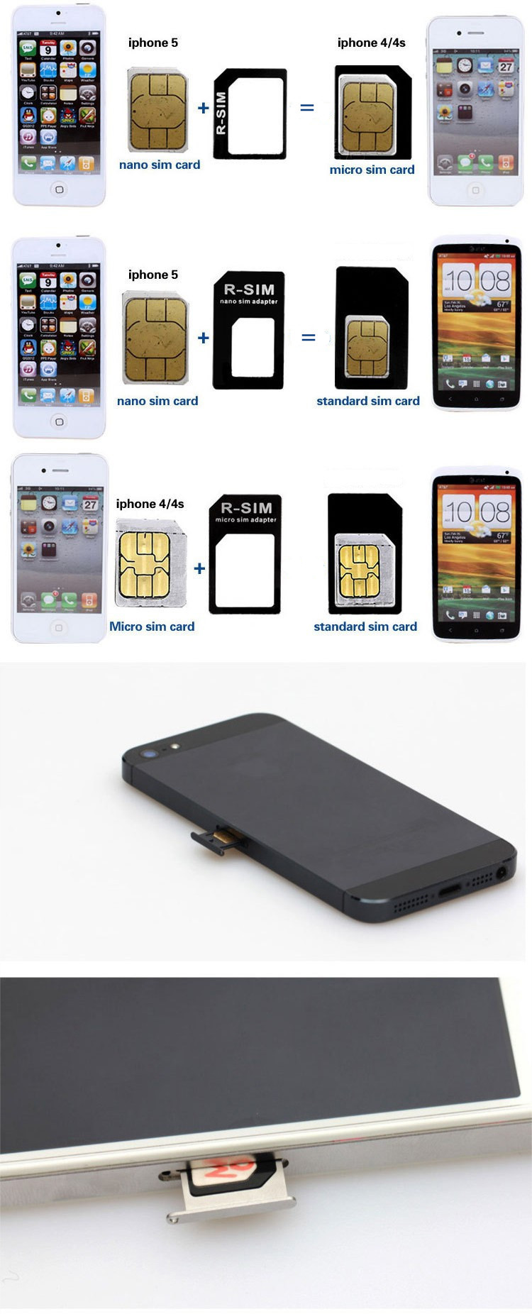 Micro Nano Sim Card adaptor for iPhone 4 4S 5 5C 5S Samsung S6 S5 S4
