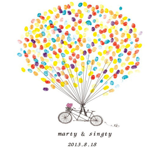 Customized Wedding Fingerprint Tree DIY Love Bike ...