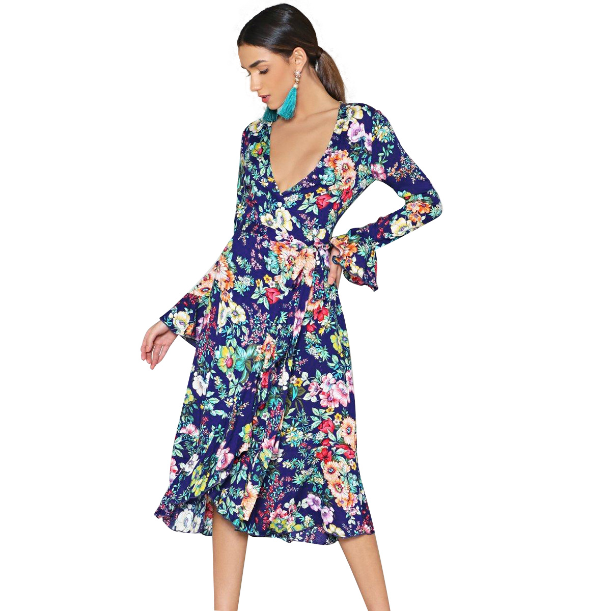 Colorful Floral Print Midi Dress Women 2019 Bohemian V neck Flare Long Sleeve Dress Ladies Boho Hippie Beach Retro Chic Dress