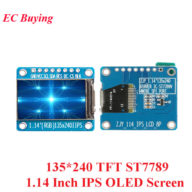 1.14 Inch IPS OLED Display Module LCD Screen 135*240 RGB TFT for Arduino ST7789 LCD Board <font><b>SPI</b></font> Full Color HD OLED 8pin DIY image