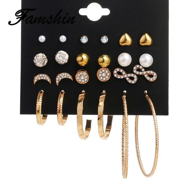 138faec85 FAMSHIN Fashion Crystal Infinite Earrings Set For Women Bijoux Simulated  Pearl Ball Big Circle Wedding Earring Statement Jewelry