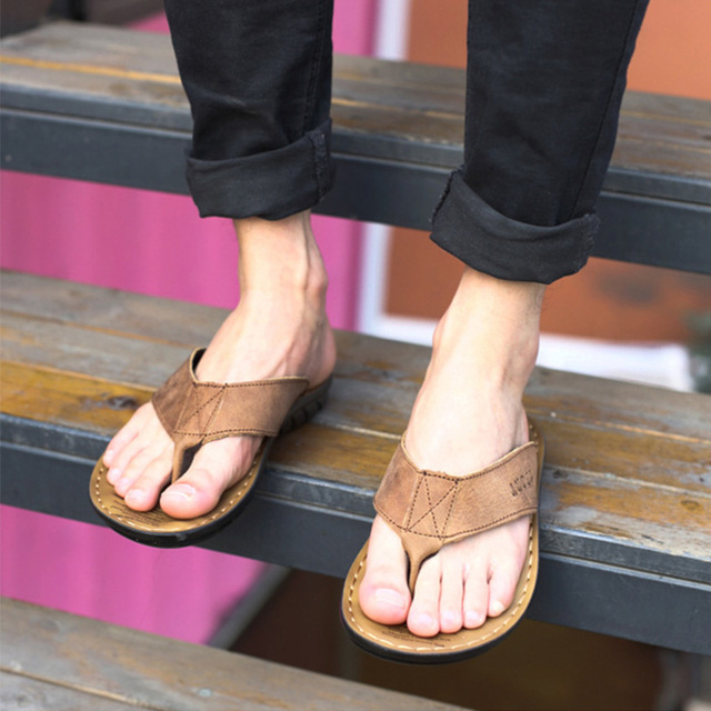 2019 Summer Shoes Men Slippers Genuine Leather Beach Slippers Mens Flip Flop Sandals Summer Man Shoes Male Flip Flops KA673 5