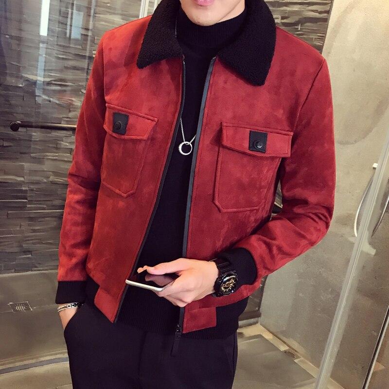 2019 겨울 폭격기 옴므 남성 스웨이드 자켓 erkek 카키 두꺼운 따뜻한 슬림 피트 겨울 자켓 deri ceket coats mens fur collar-에서재킷부터 남성 의류 의  그룹 1