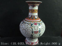Antique ceramic vase of hollow out two pieces of peach blossom birds / 9 11.
