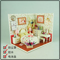 J008 Diy Wooden Miniature Doll House bedroom Furniture Toy Miniatura Puzzle Model Handmade Dollhouse
