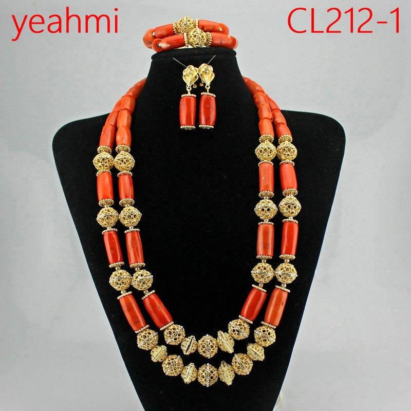 Africain nigérian mariage corail collier ensemble 2018 mode réel corail bijoux ensemble pour femmes or perles de mariée bijoux CL212-1