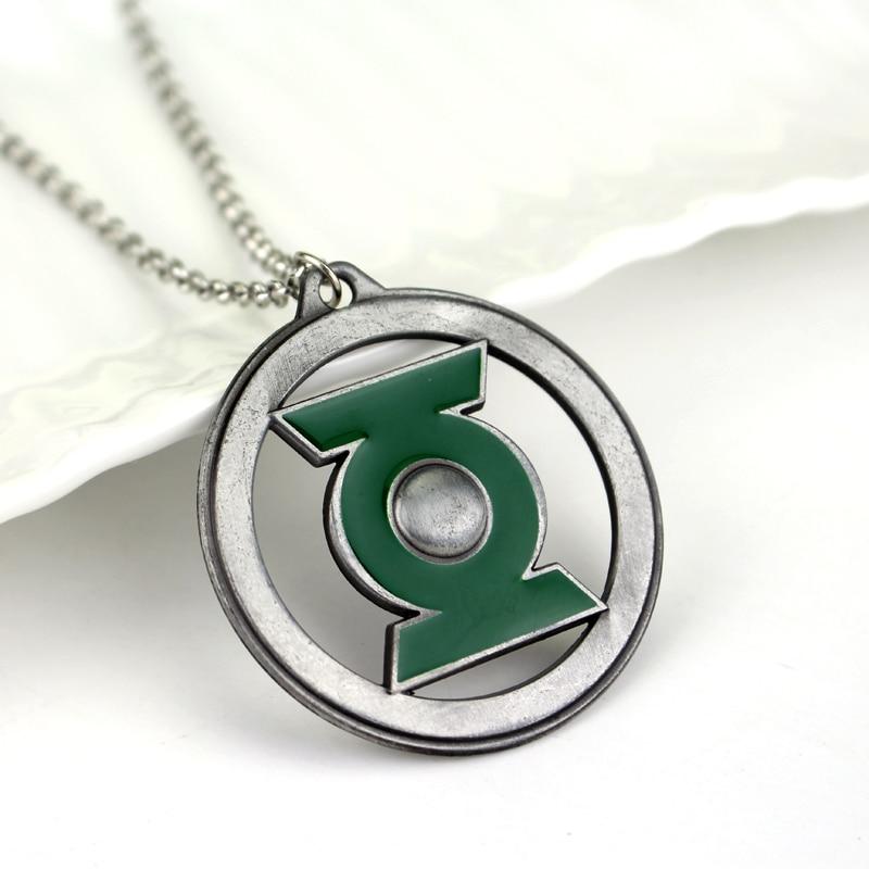 2 Colors The Green Lantern Symbol Logo Badge Silver Pendant Necklace
