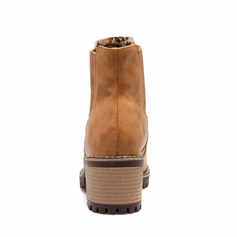 MEMUNIA 2018 yeni yarım çizmeler platformu çizmeler moda yüksek topuklu yuvarlak ayak sonbahar kış kadın çizmeler büyük boy 34-43