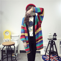 Spring and Autumn long cardigan female slim women knitted sweater rainbow spell color loose outwear