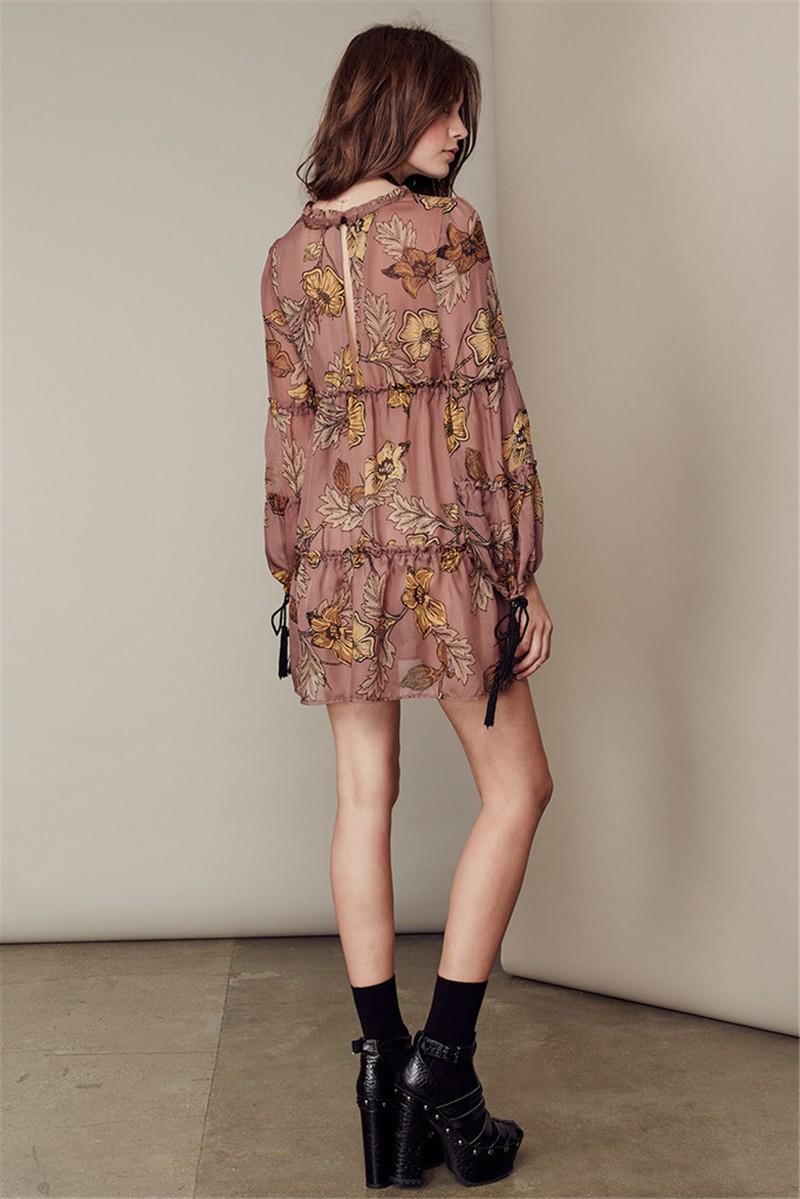 women dress Autumn winter long sleeve ruffle chiffon dress Vintage loose short dress Boho floral print tassel vestidos 6