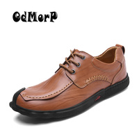 ODMORP Men S Shoes Leather Casual Shoes Lace Up Autumn Handmade Dress Shoes Fashion Style Soft