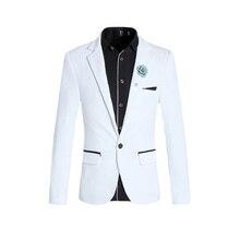 Cloudstyle Новое поступление 2017 года Модные Мужской костюм одноцветное Белый Slim Fit свадьбу джентльмен Стиль человек Костюмы блейзер