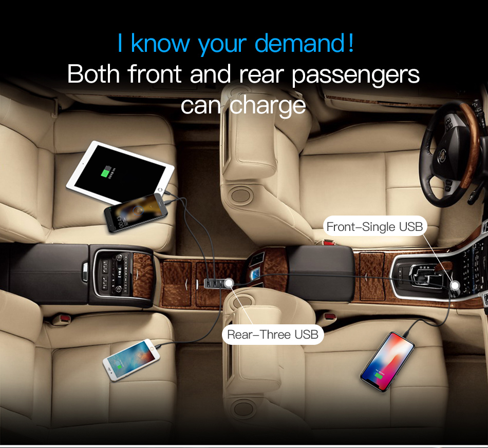 Baseus 4 USB Fast Car Charger For iPhone iPad Samsung Tablet 5V 5.5A