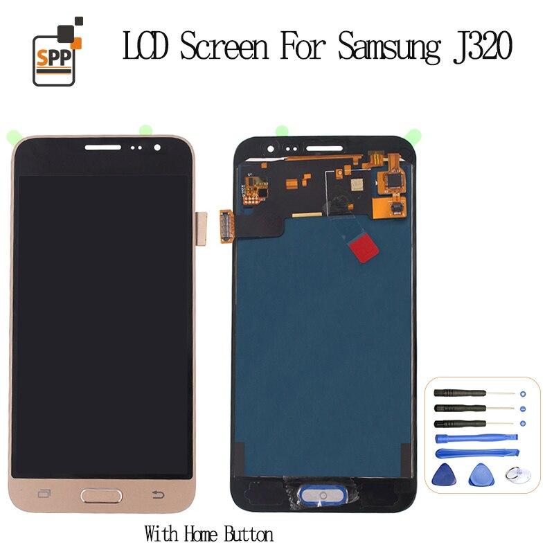 Galleria fotografica Adjust Brightness LCD Display for Samsung Galaxy J3 J320 SM-J320FN LCD Screen Touch Digitizer Assembly J320F J320M J320H/DS 2016