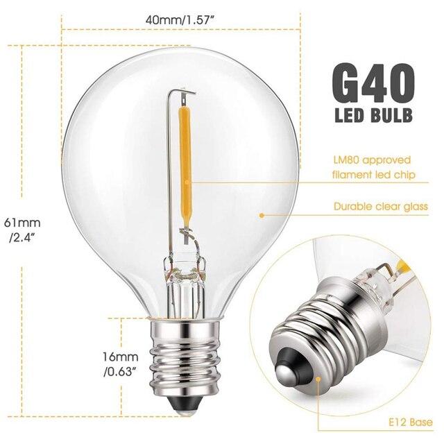 LED extérieur Globe guirlandes lumineuses suspendus 1W Vintage ampoules imperméables Patio lumières ambiance balcon 25 pieds