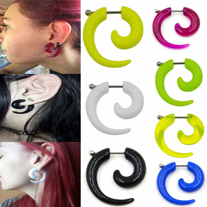 1Pair Hot Acrylic Cheater Fake Spiral Ear Taper Stretcher Expanders Gauge Tunnel And Plugs Earlobe Earring Piercing Body Jewelry(China)