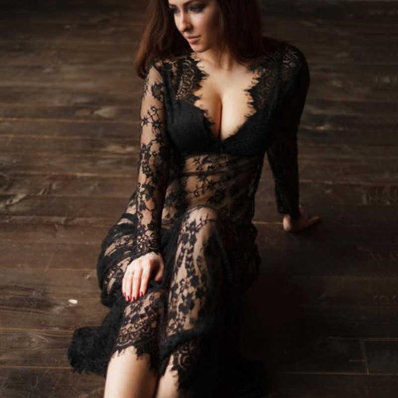 fb40fdad8fe Summer Women Maxi Sleep Dress Sexy Lace nightgowns Deep V Sexy Dress ...