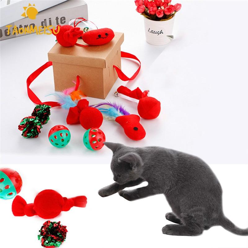 Cat Christmas Toys Set Plastic Balls + Crinkle Paper Cat ...