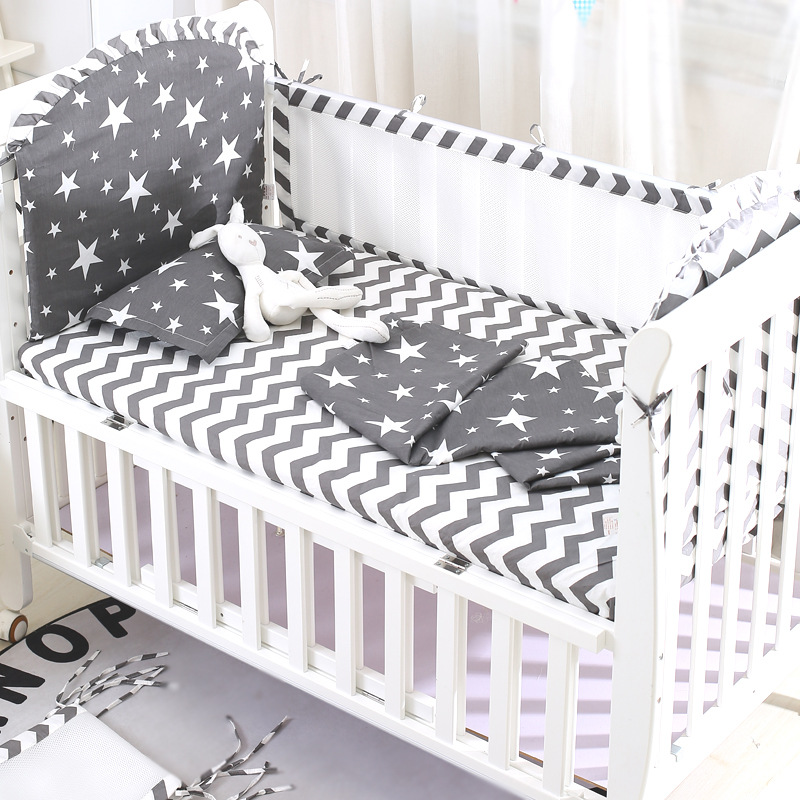 5Pcs/Set Baby Crib Bed Bumpers+Bedding Sheet 100%Cotton Children's Bed Protector Cot Bumpers In Crib For Newborns Bedding Set