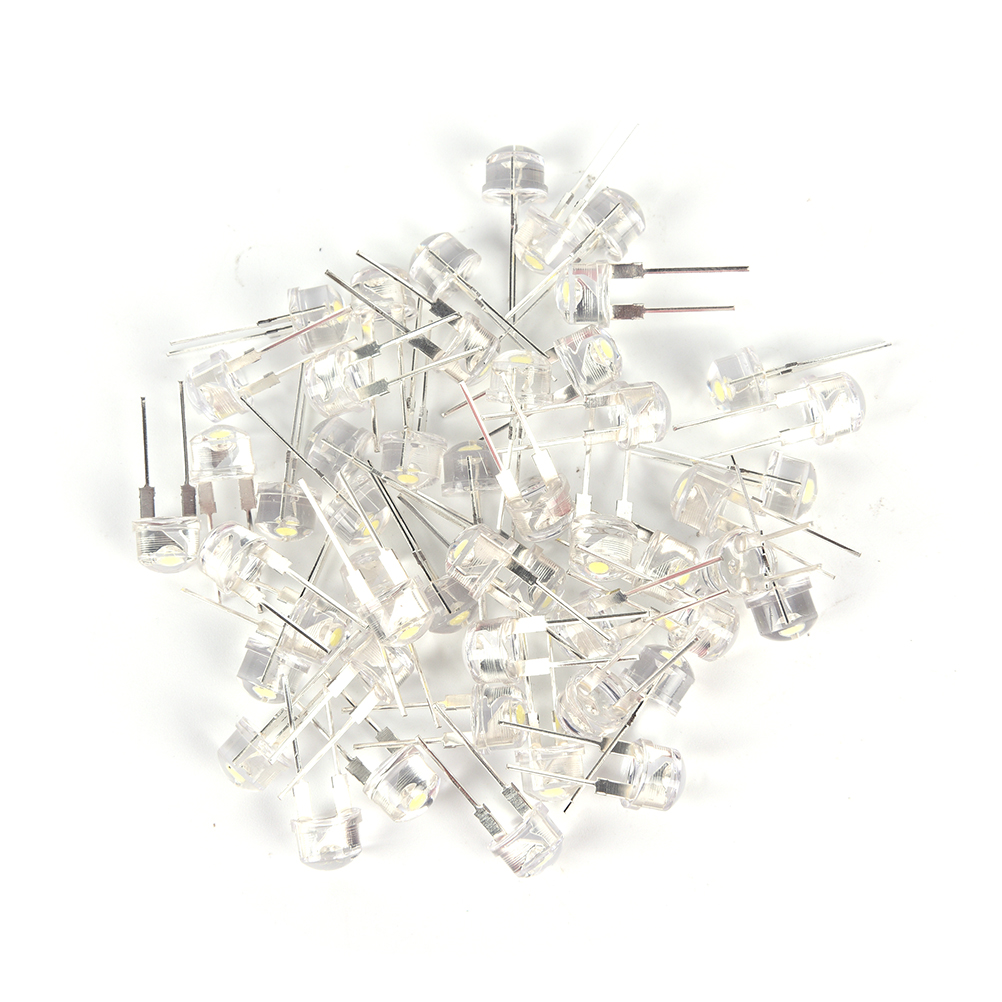 50pcs/lot 0.75W 8mm Straw Hat LED White Ultra Bright F8 White LED Light Emitting Diode Lighting Bulbs