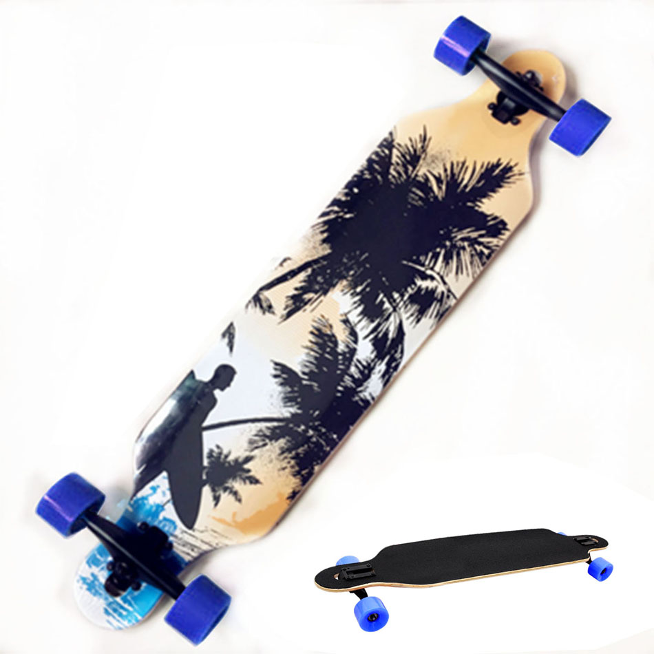 Fast Shipping Professional Canadian Maple Skull Skateboard Road Longboard Skate Board Adult 4 Wheels Downhill Street Long Board koston longboard skateboard scooter black skate helmet