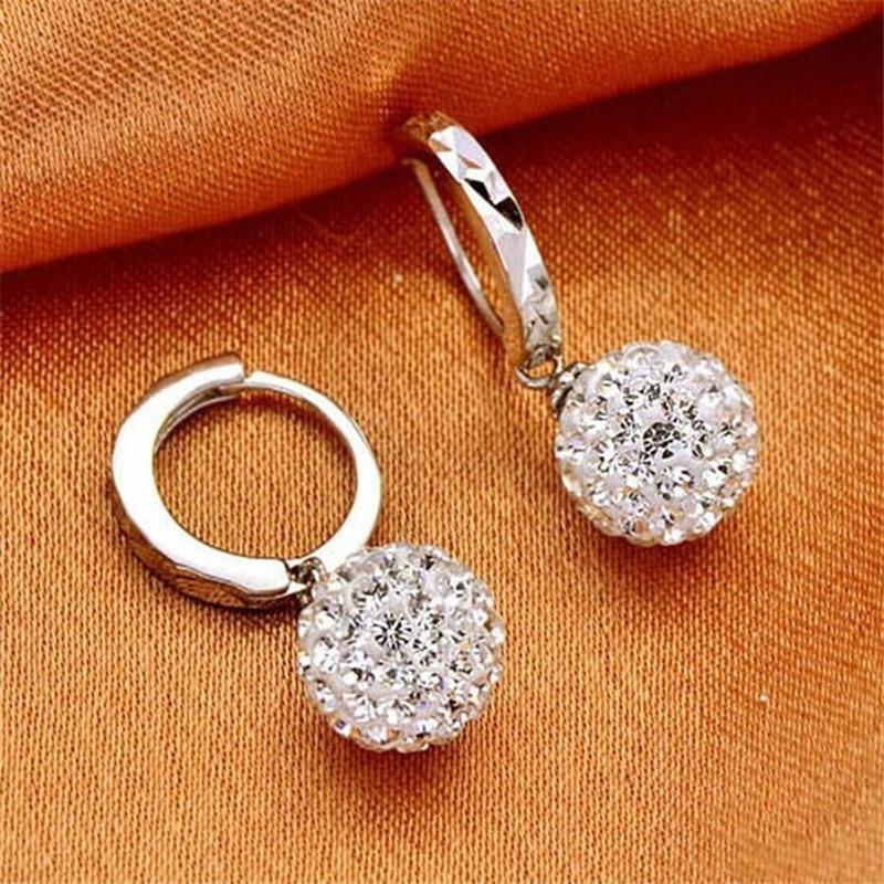 2018 New Elegant 925 Sterling-silver-jewelry Shiny Ball Rhinestones Stud Earrings For Women Earings Silver 925 Jewelry L024