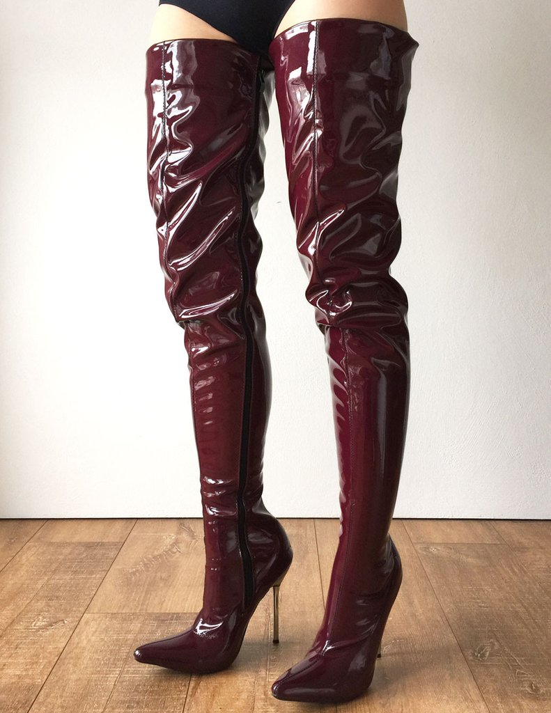 fast delivery various colors wholesale sales Brown Red Boots 80Cm Crotch Thigh High Boots Women Shoes 12Cm ...