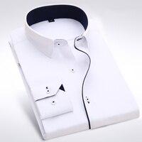 Famous Brand Long Sleeve Men Dress Shirt Fashion Formal Business Cotton Polyester Purple Slim Fit Boy