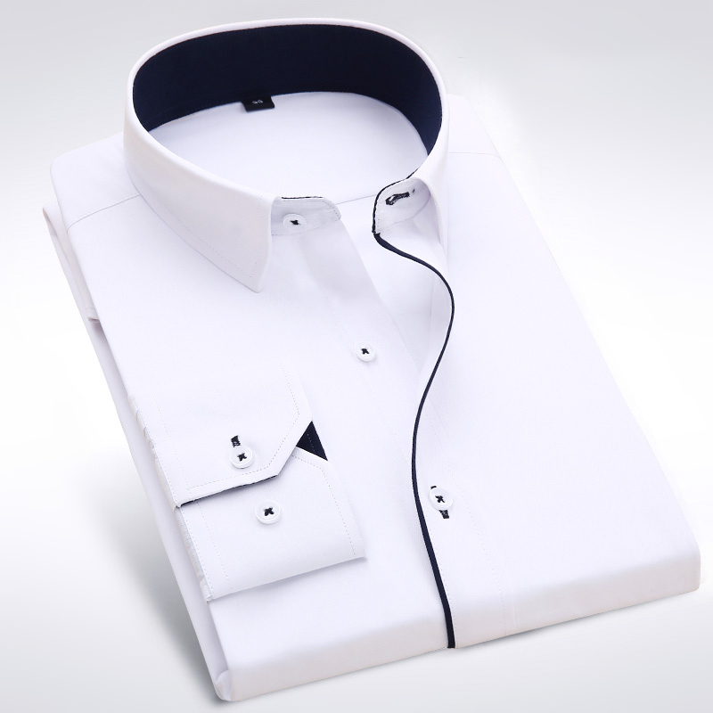 fd1fd9d187a Famous Brand Long Sleeve Men Dress Shirt Fashion Formal Business Cotton  Polyester Purple Slim Fit Boy Male Casual Shirts 4XL-in Dress Shirts from  Men s ...