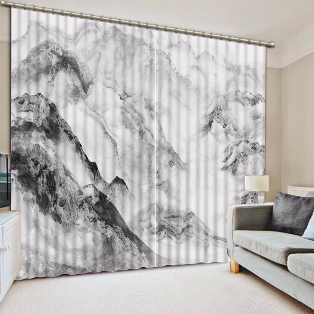 The Living Room Curtains Mountain Landscape Photo 3D Curtain Blackout Polyester Cotton Sheer