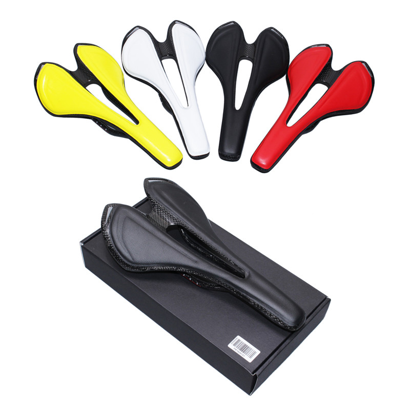 full carbonfiber+Leather fiber road mountain bike saddle seat cushion Carbon saddle bicycle saddle Black White Red Yellow 115g new arrival carbon saddle bicycle bike saddle seat road bike saddle sillin bicicleta sillin carbono sella carbonio