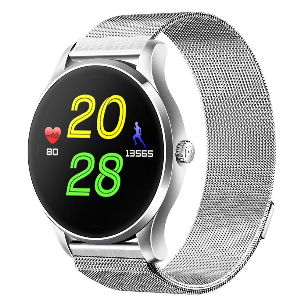 Bluetooth 4.0 montre intelligente Ultra mince maille ceinture en acier inoxydable montre-bracelet 1.22 pouces IPS écran 300 mAh batterie capteur de fréquence cardiaque