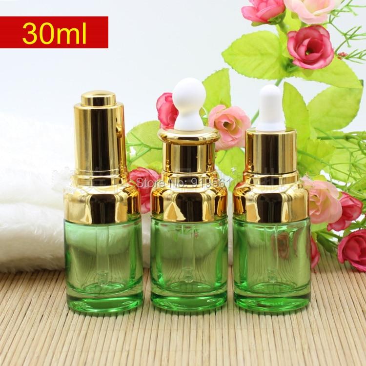 Free Shipping 30ML green Glass Drop Bottle Gold Shoulder White Bulb Silver Pump Oil Bottle Glass