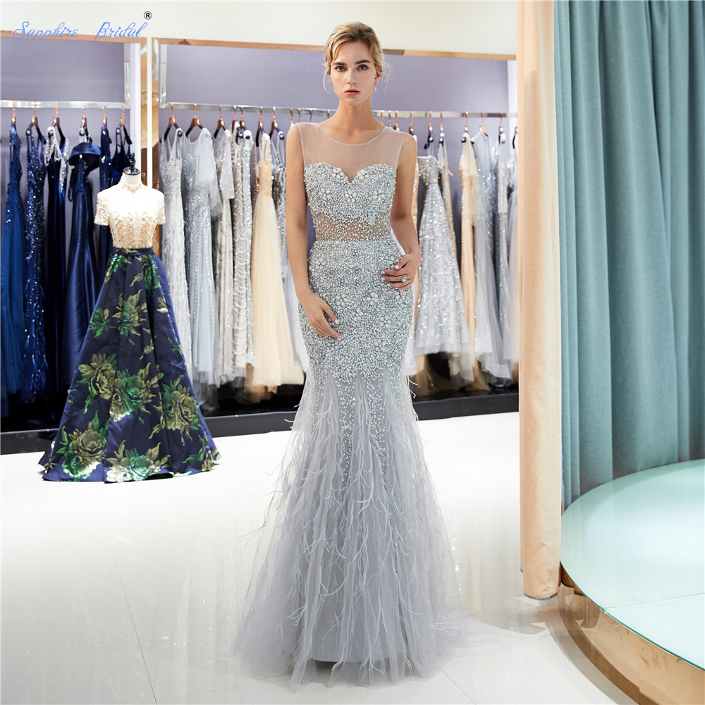 Sapphire Bridal 2019 New Sexy Sparkly Feather Long Formal Gowns Vestido De Festa Silver Grey Gold Beaded Illusion   Evening     Dress