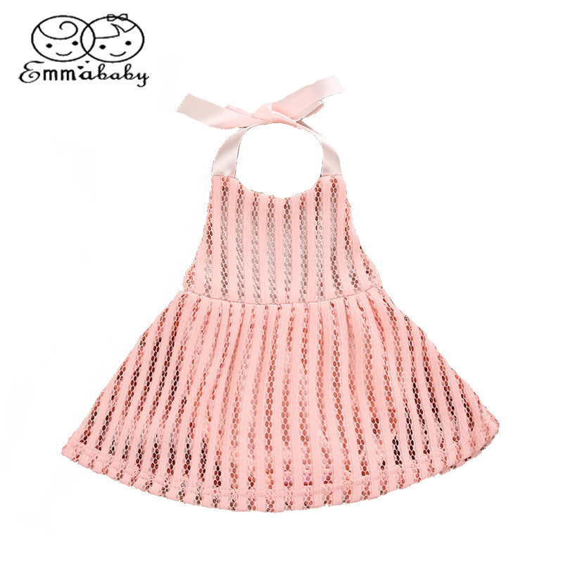 Emmababy Cute Toddler Baby Kids Girls Party Princess if Mini Mesh Dress Romper Jumper Hollow Backless Summer Children Clothing