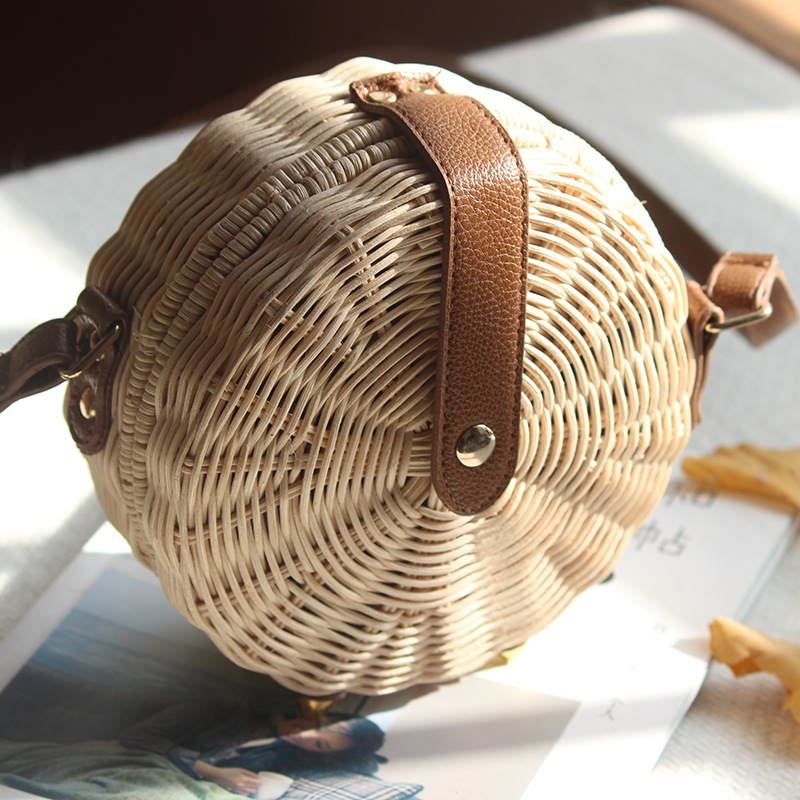 Round Rattan Bag Female Straw Beach Bag Holiday Bag Shoulder Diagonal Bag 1