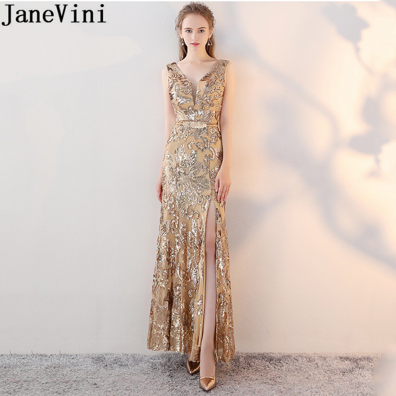 JaneVini paillettes scintillantes or robes de bal longue argent noir ceinture pailletée sirène robe de soirée Sexy Split robes de soirée 2019