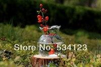 Dia9 5 H10cm Handmade Transparent Glass Vase Small Flower Pot As Table Vase For Home Decoration