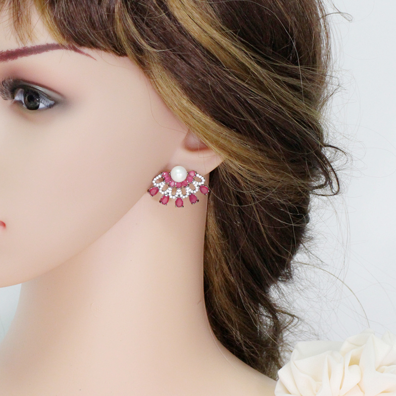 Ruby Red Stud Earrings-