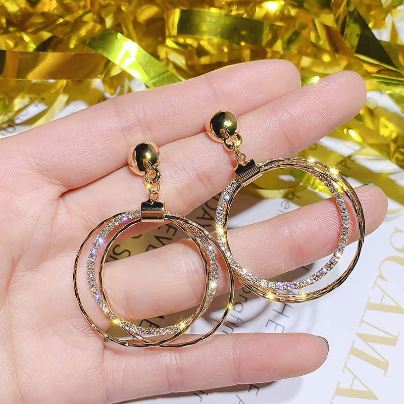 DREJEW Silver Gold Circle Pearl Statement Earrings Sets 2019 925 Crystal Alloy Drop Earrings for Women Wedding Jewelry HE4301 in Drop Earrings from Jewelry Accessories