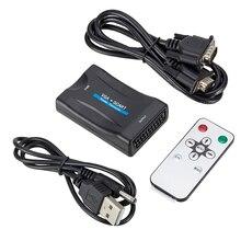 1080P VGA SCART Video ses dönüştürücü adaptörü + uzaktan kumanda + USB kablosu + VGA kabloları