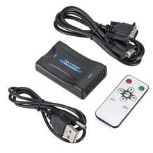 1080P VGA к SCART видео аудио конвертер адаптер + пульт дистанционного управления + USB кабель + VGA кабели